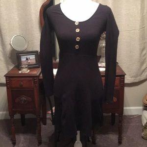 altar'd state Black Cotton Faux Button Front dress